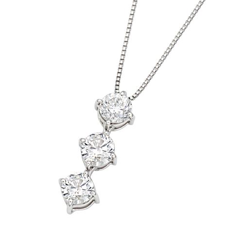 プラチナ ダイヤ スリーストーン ネックレス(2way)